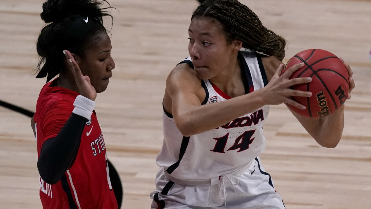 Aari McDonald scored 20 points, Trinity Baptiste added 18 and Cate Reese 16 as Arizona rolled past women's NCAA Tournament newcomer Stony Brook 79-44. Photo via AP.