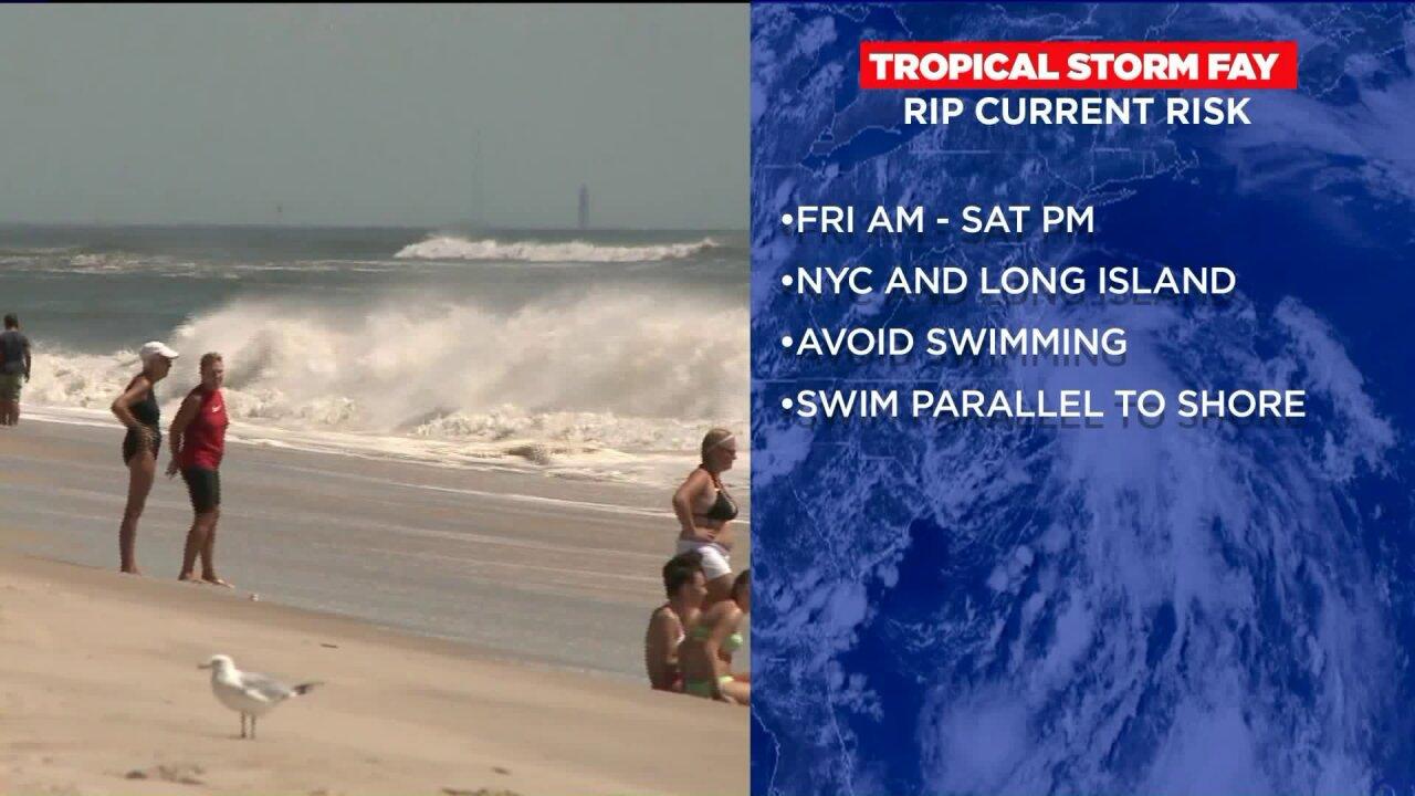 Tropical Storm Fay rip current risks