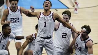 Jalen Suggs APTOPIX NCAA Final Four UCLA Gonzaga Basketball