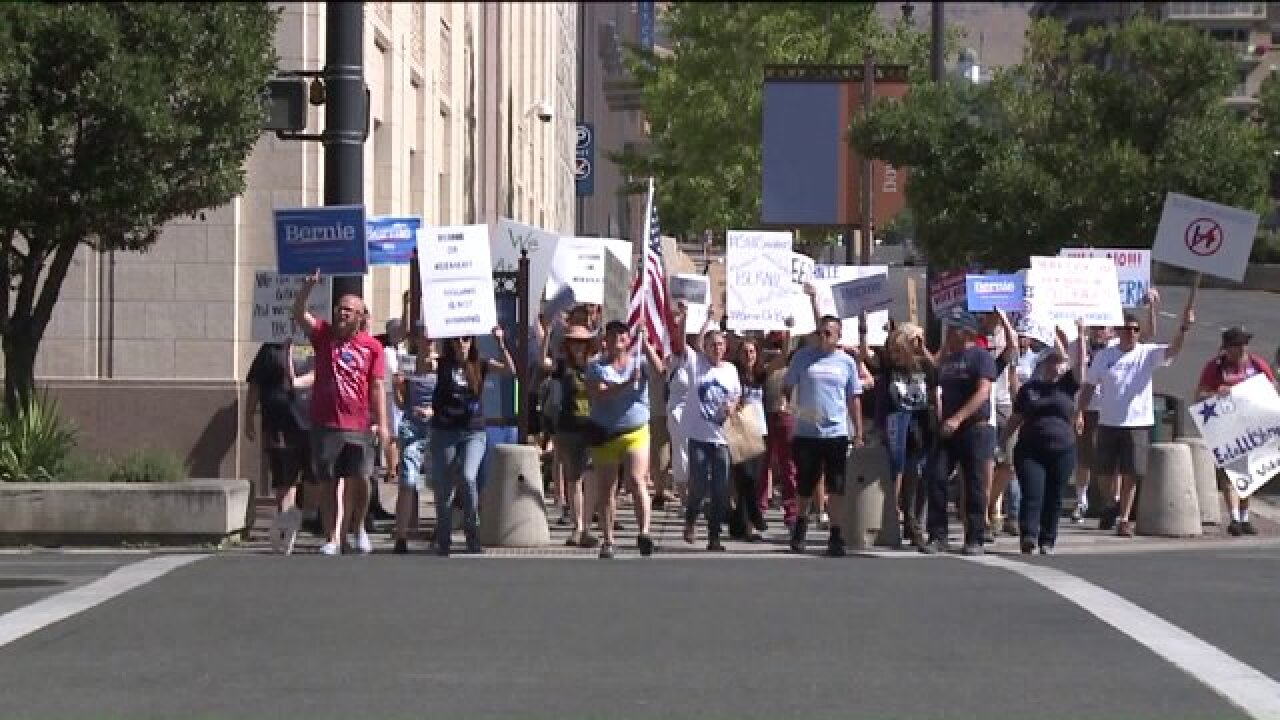 Protesters in Salt Lake City say DNC favored Clinton over Sanders duringprimary