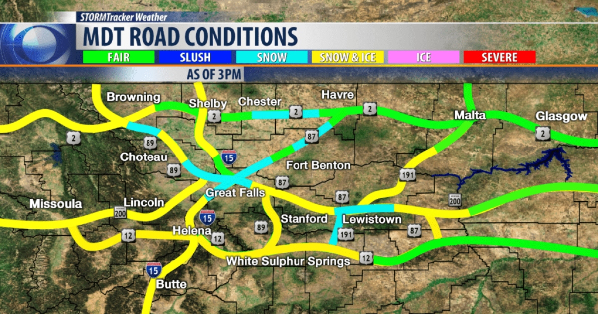 Snow covered roads Thursday evening