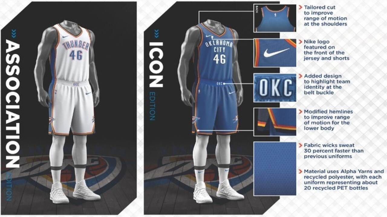 purchase cheap 6df77 1463f Oklahoma City Thunder unveils new Nike uniforms