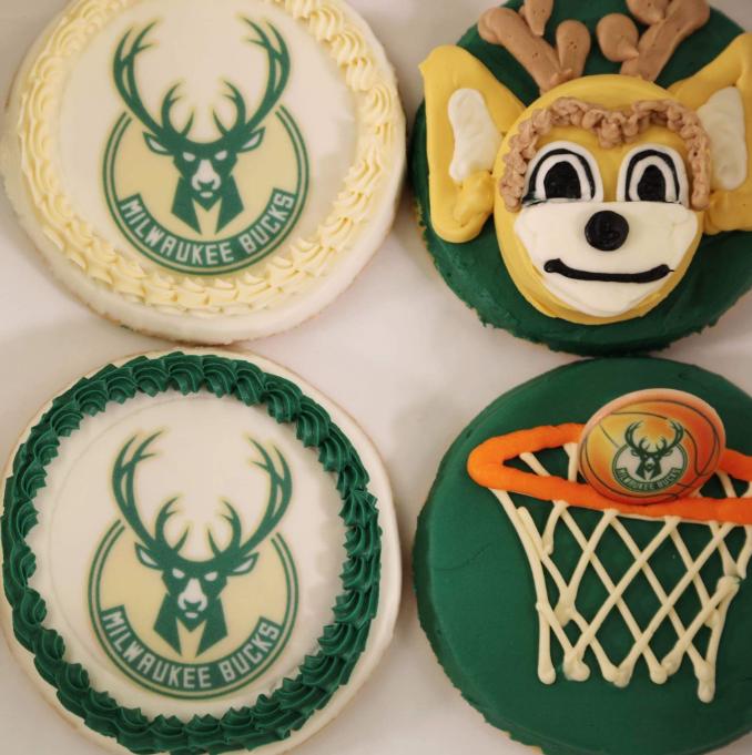 Milwaukee Bucks-themed cookies from Grebe's Bakery