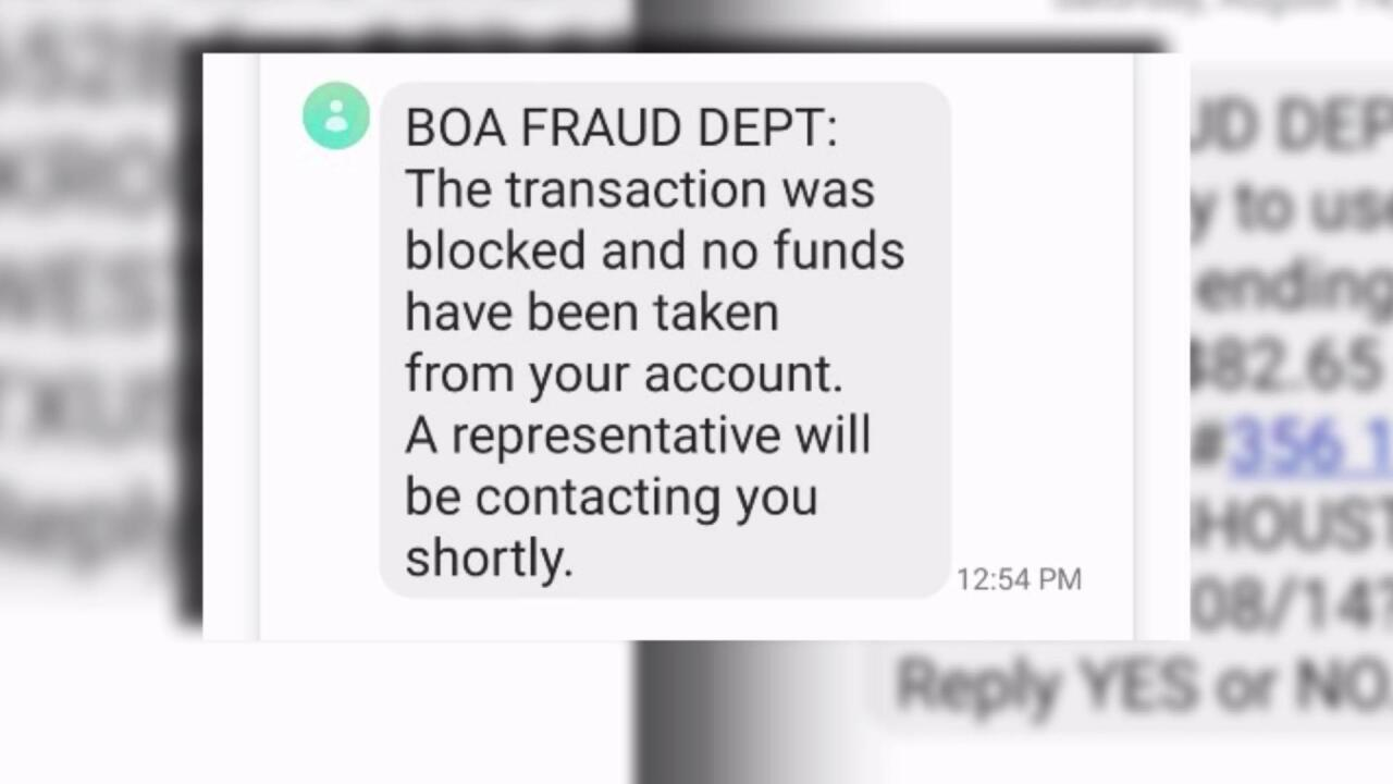 Banking text scam fraud