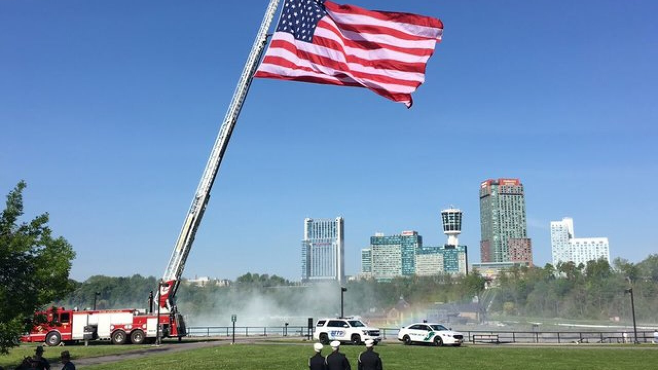 Giant American flag makes stop at Goat Island