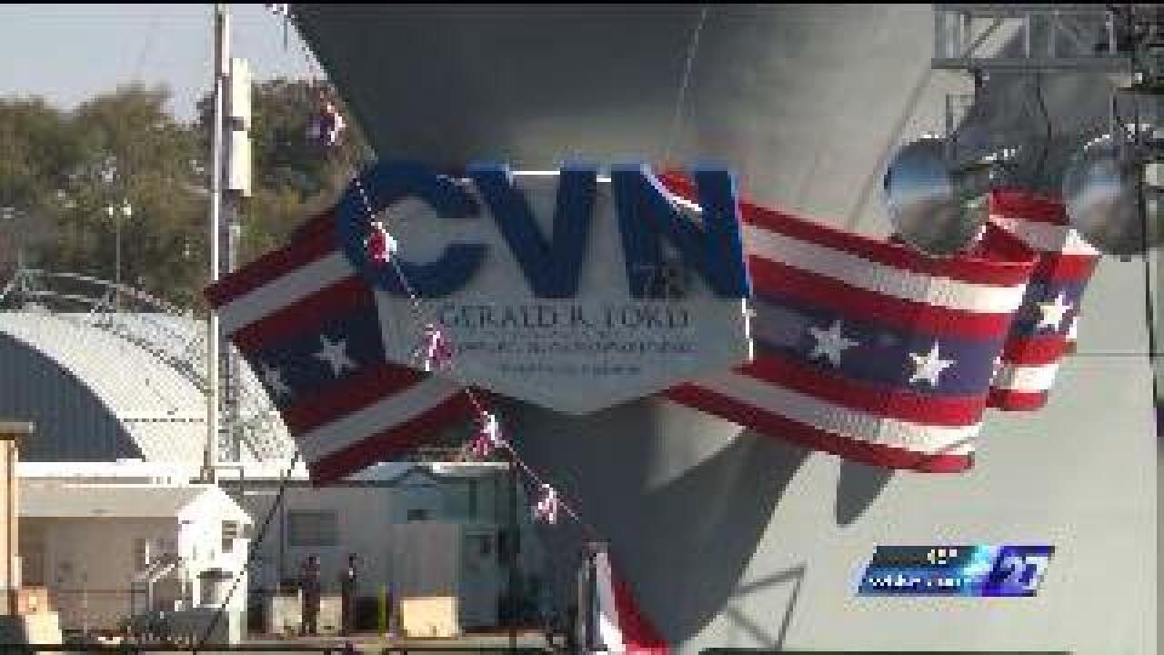 Aircraft carrier Gerald R. Ford officially christened