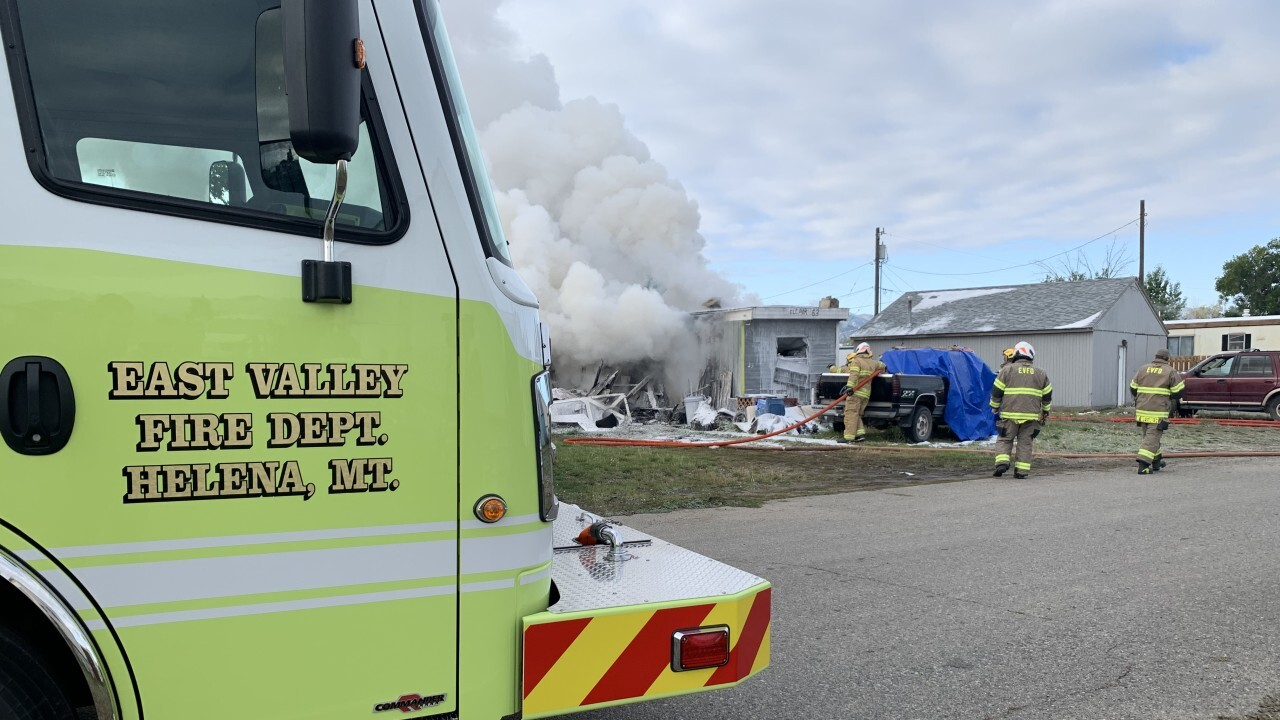 Fire at a mobile home near East Helena
