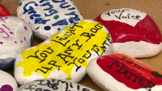 """Malmstrom AFB receives a gift of support from East Middle School's """"Kindness Rocks Project"""""""