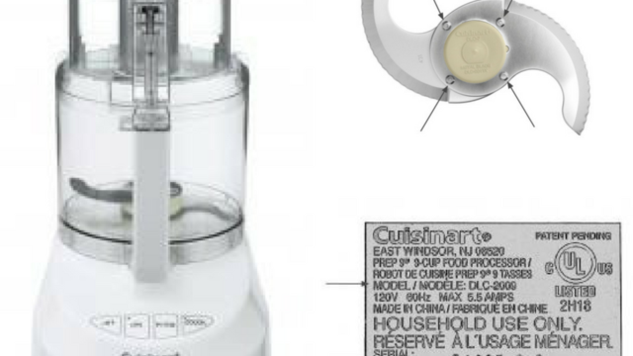 8 million food processors recalled by Cuisinart