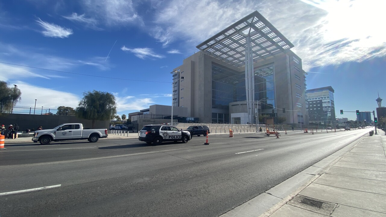 The Lloyd D. George federal courthouse is located on Las Vegas Blvd. between Carson and Bridger as seen Jan. 6, 2021