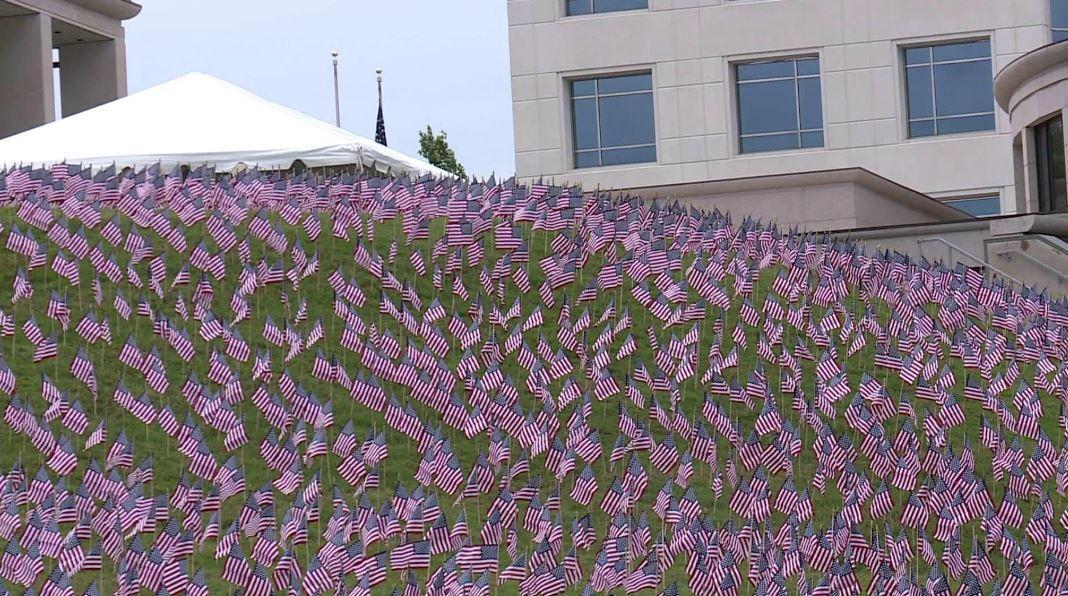 Photos: 12,000 American flags line Virginia War Memorialhillside