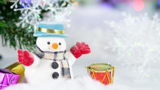 Stock holiday craft show photo of a snowman and a drum