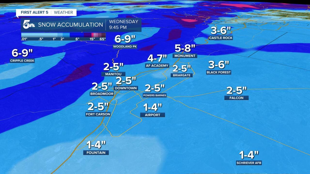 Pikes Peak Region snow forecast