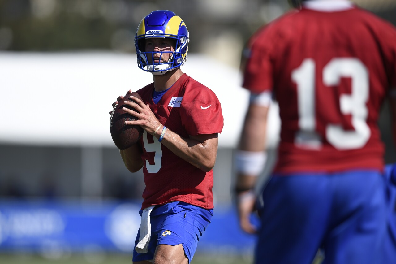 Los Angeles Rams QB Matthew Stafford during 2021 training camp