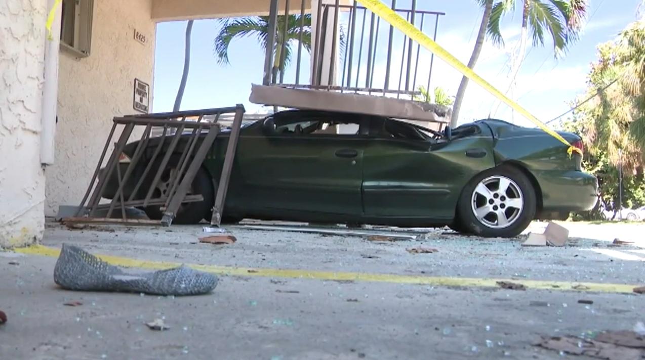 car crushed by balcony at Dora Condo, Dec. 24, 2018