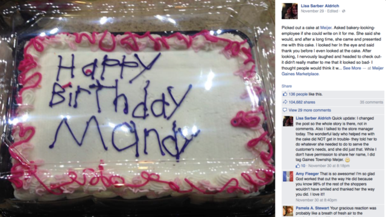 Birthday cake's poor penmanship goes viral