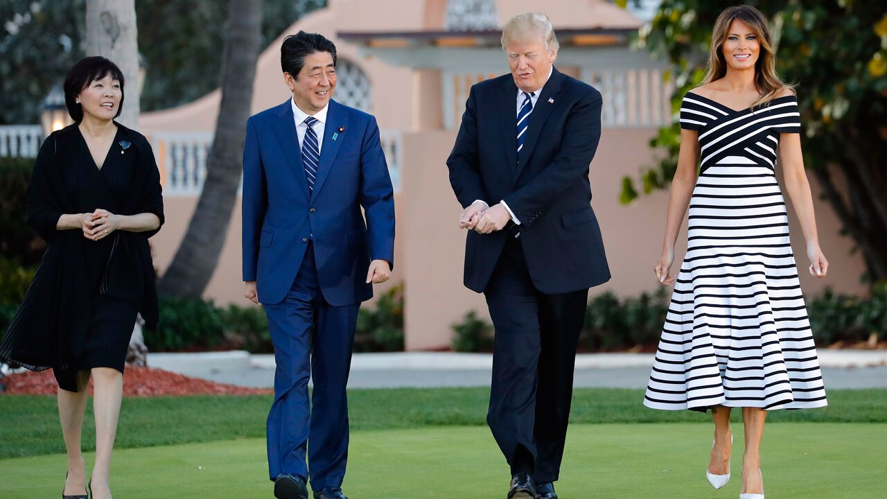 President Trump meets with Japanese Prime Minister Shinzo Abe at Mar-a-Lago April 17, 2018