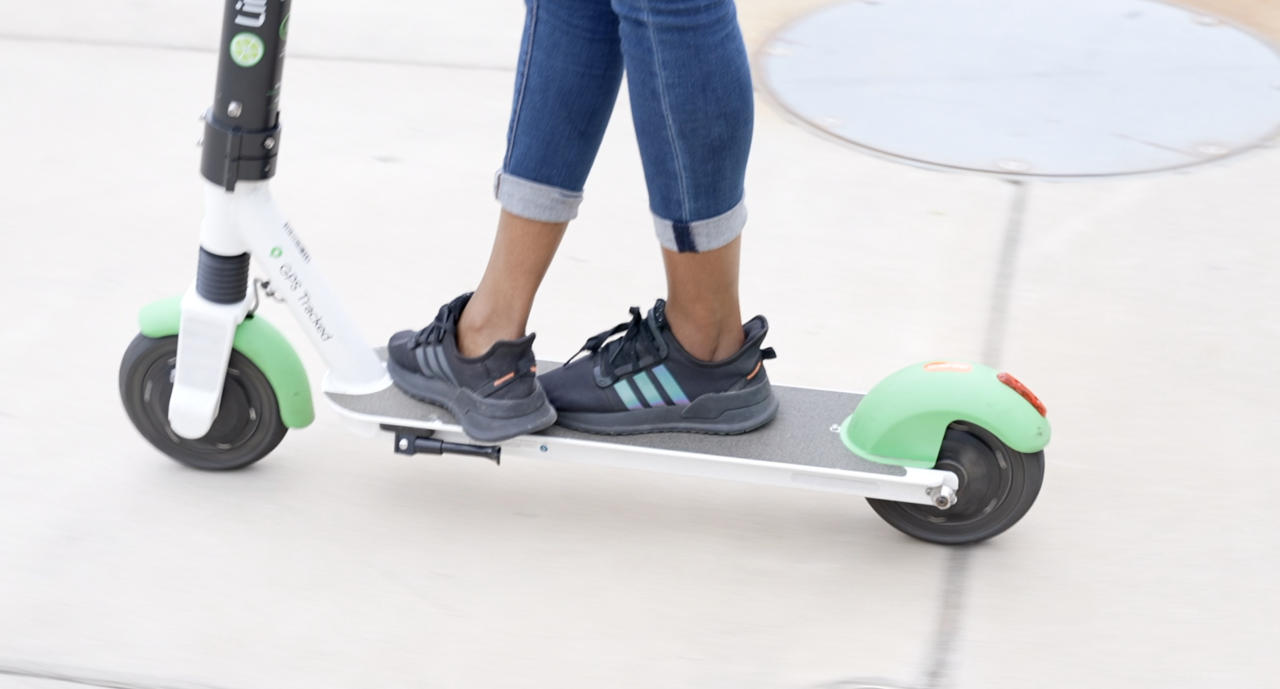 Riding on a lime scooter