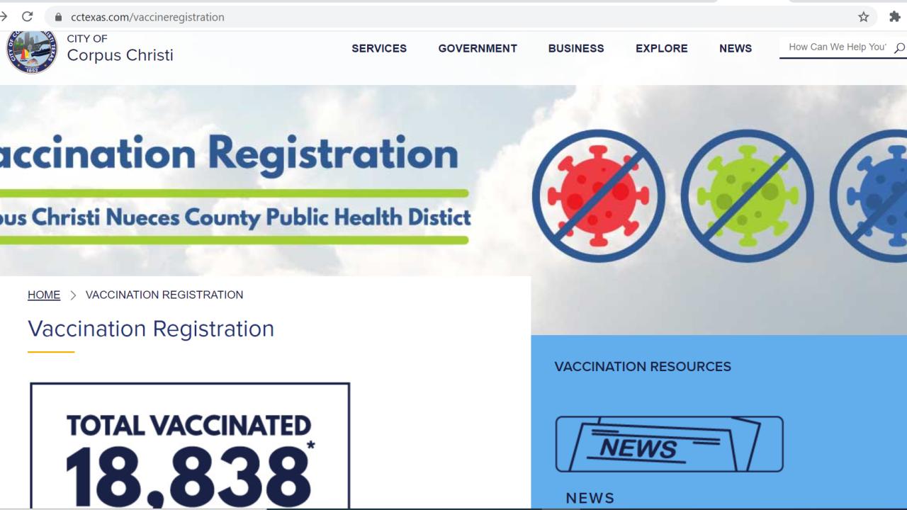 City vaccine registration website.PNG