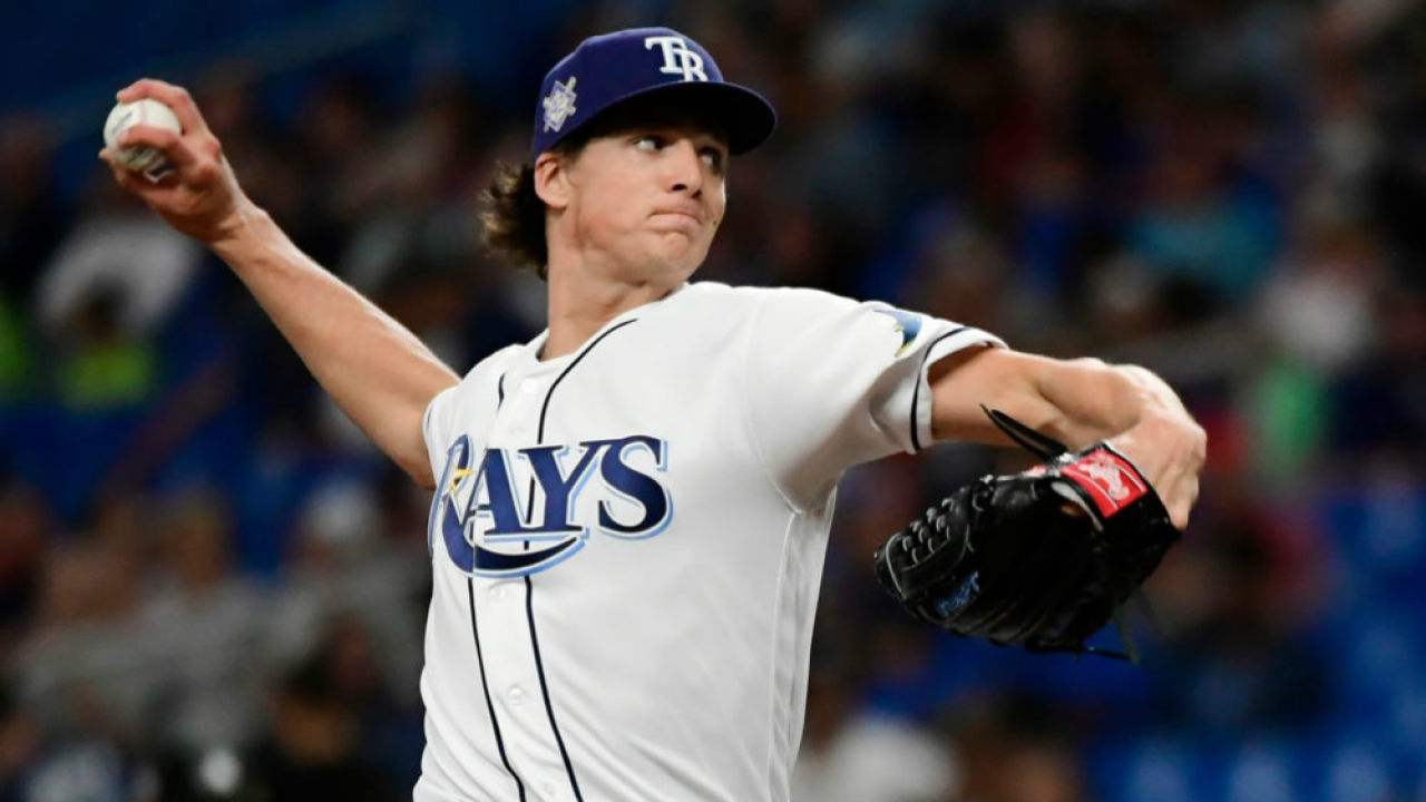 Tyler Glasnow represents the Rays in a new Backyard Baseball.