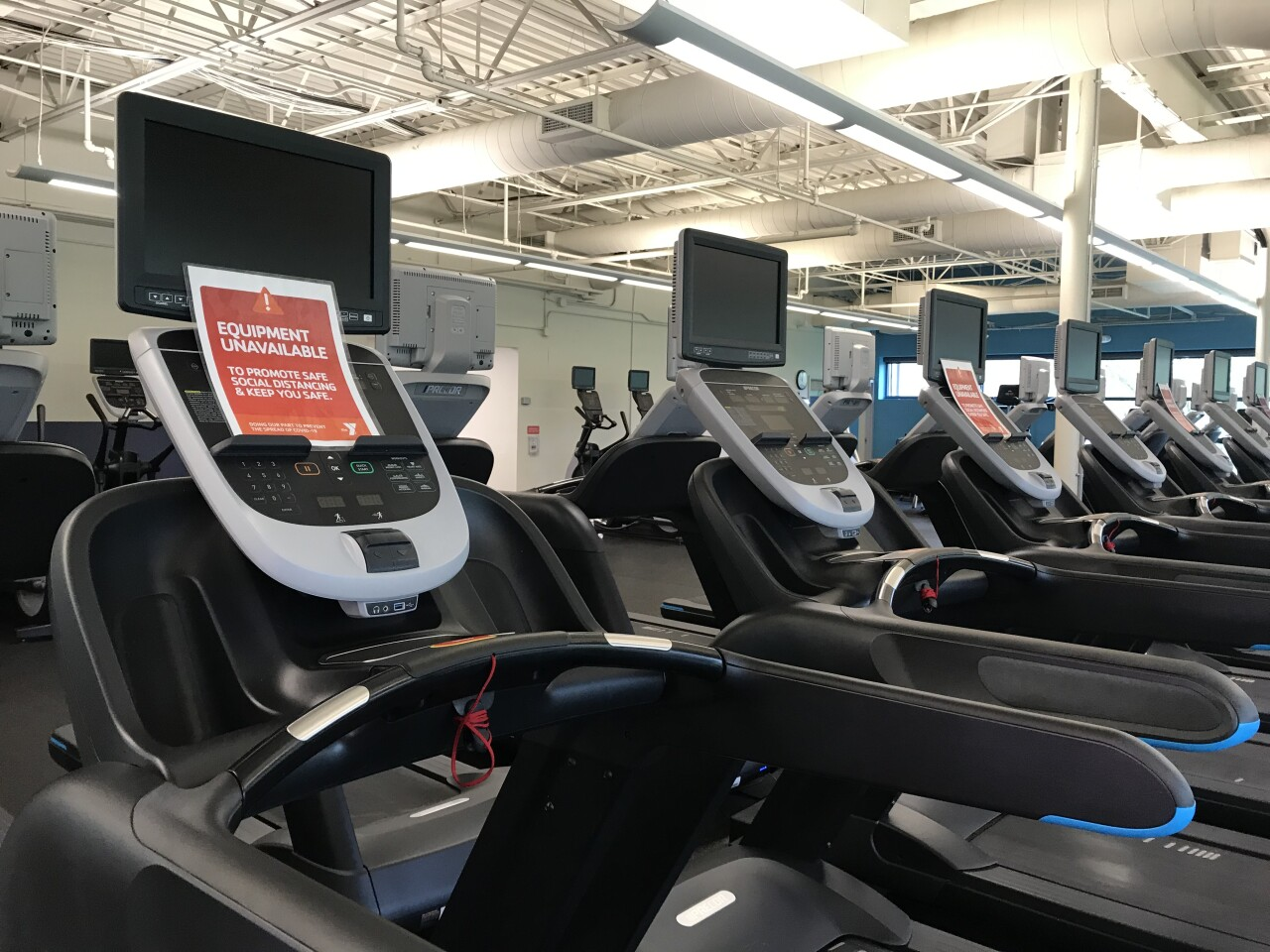 Row of treadmills at the YMCA