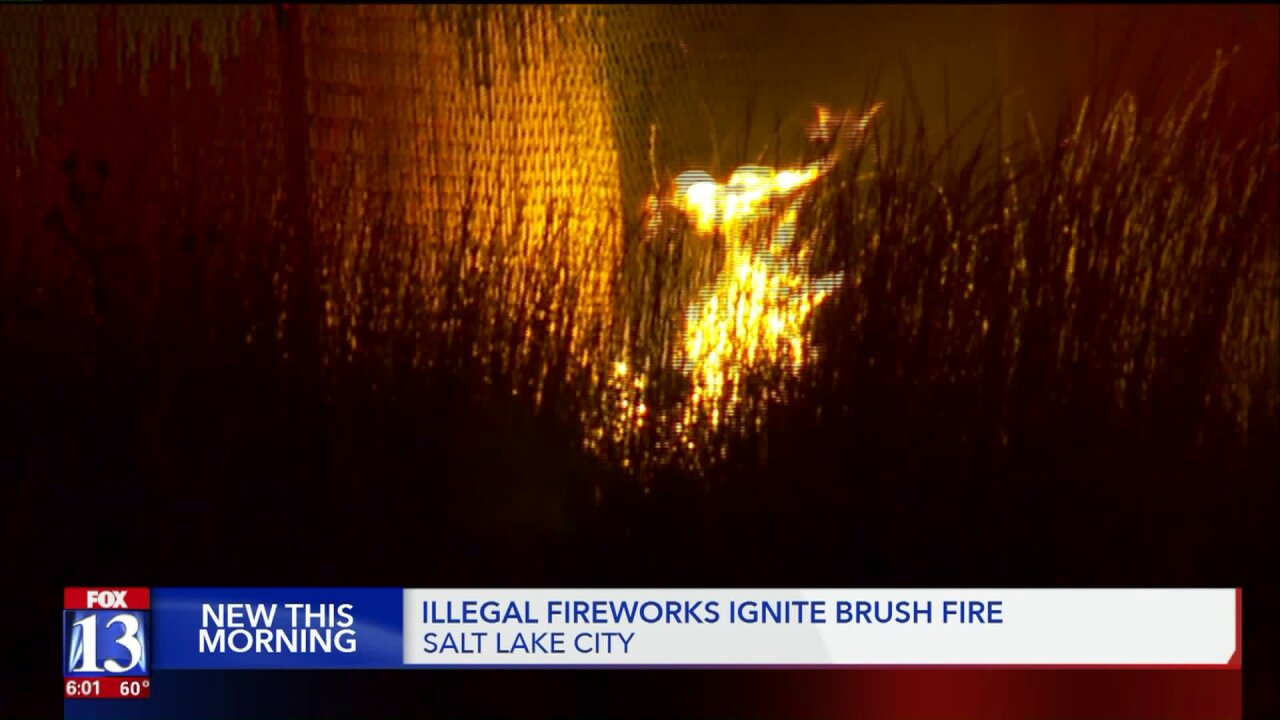 Illegal discharge of fireworks causes brush fire inSLC
