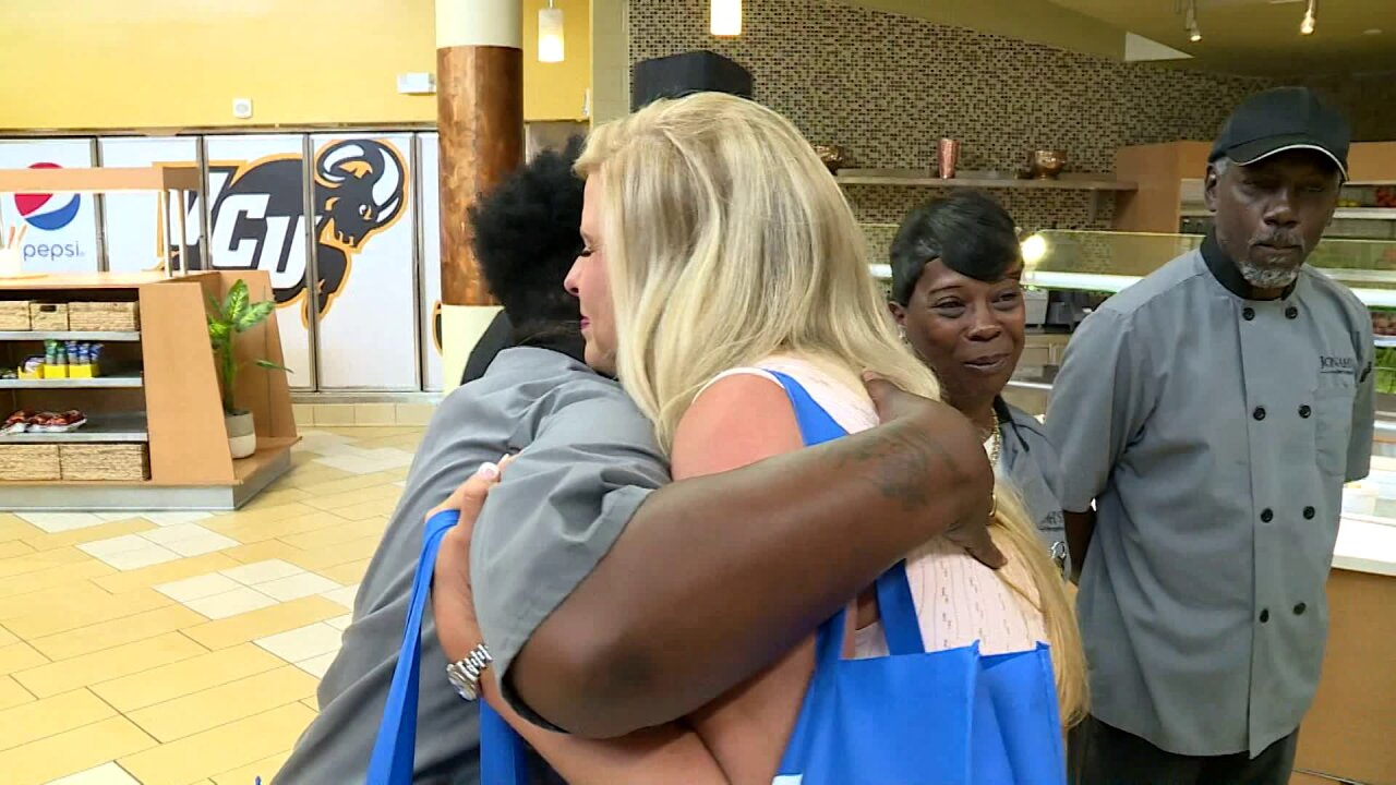 Nikki-Dee Ray surprises employees of Jonah L. Larrick Student Center