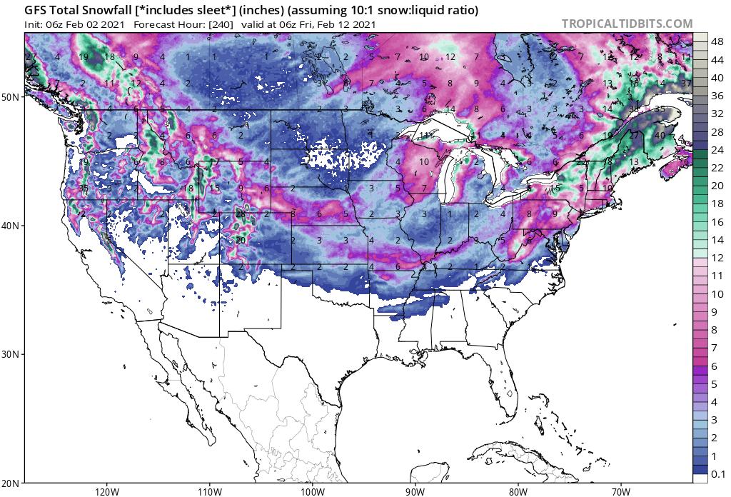 Snow Forecast Next Ten Days American Model