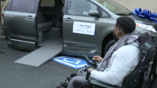 Wounded BPD Sergeant, Isaac Carrington, receives new handicap accessible van