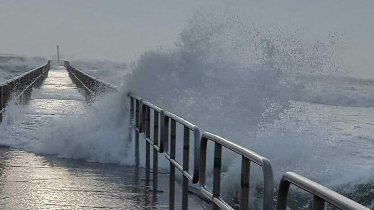 Packery Channel crashing waves - Photo By: FB Coastal Bend Weather Watcher Edwin Soto