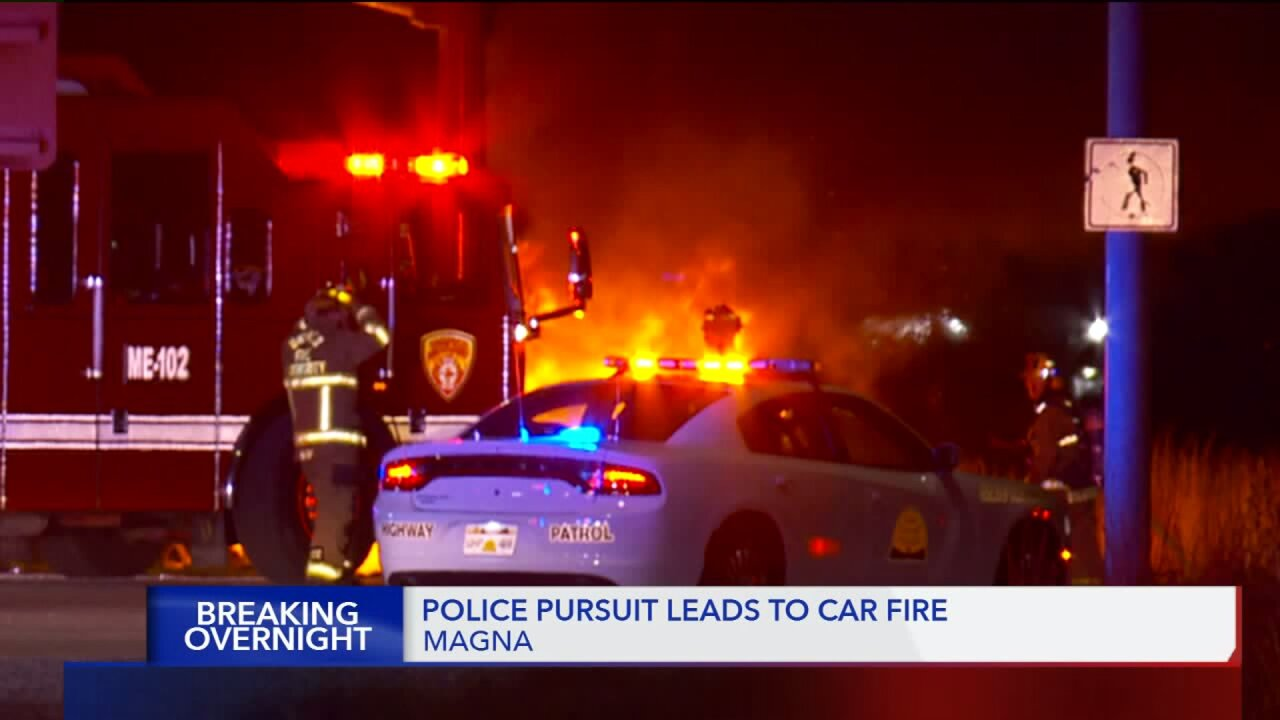 Police chase ends in car fire, power outages inMagna