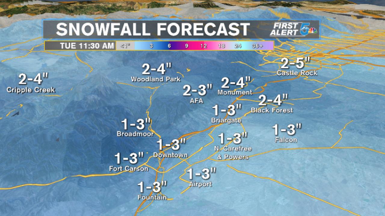 Estimated snowfall 2/10 - 2/11/20
