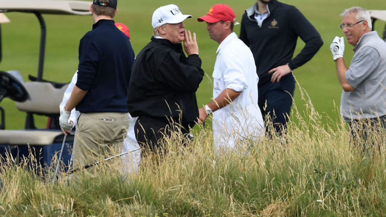 The Trumps are spending the weekend at the President's Scottish golf resort as UK protests continue