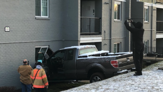 truck into edgewood apartment complex