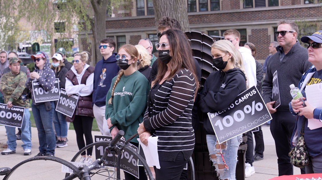 Students and parents gathered on MSU's campus to rally for 100 percent in-person classes in the fall