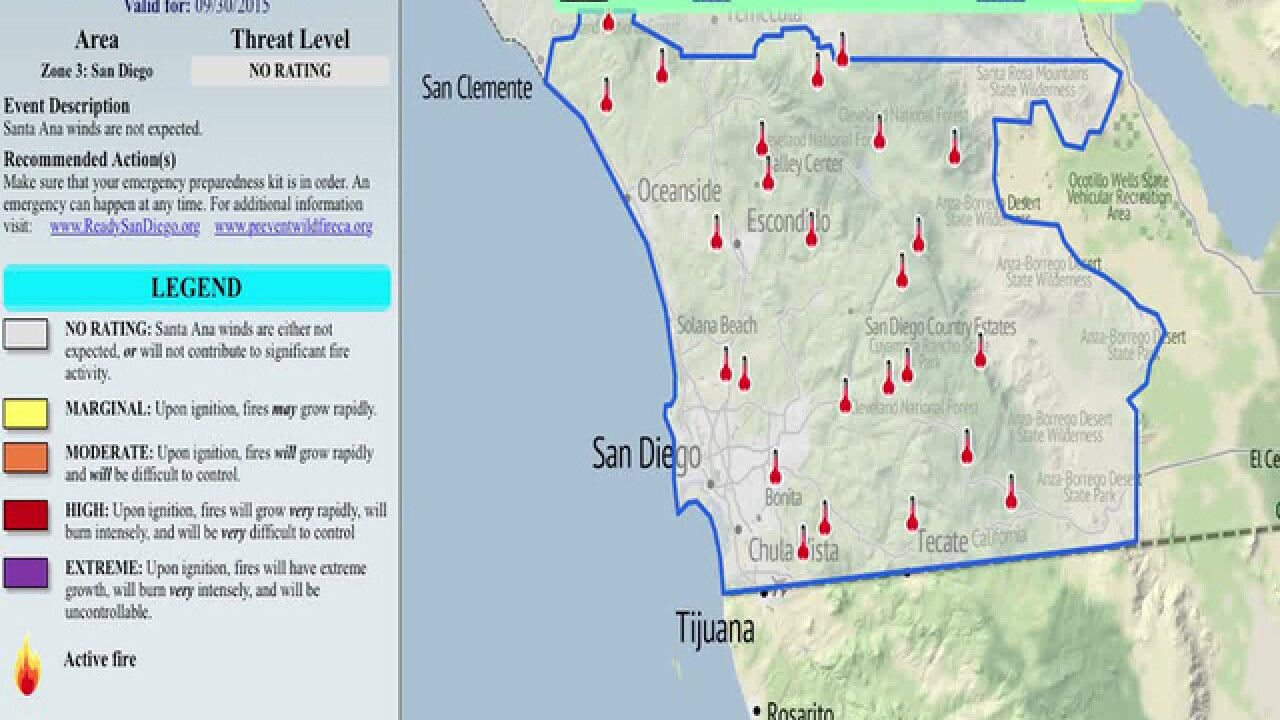 Santa Ana Fire Map.County Map Shows Fire Threat Level By Region