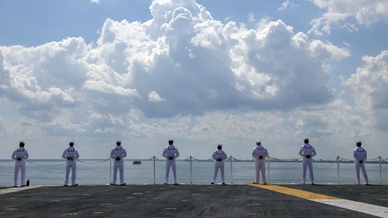 USS GERALD R. FORD (CVN 78) MAN THE RAILS