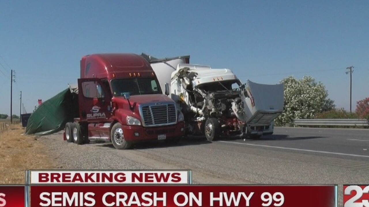 Big rig crash snarls traffic on Highway 99 south of Bakersfield