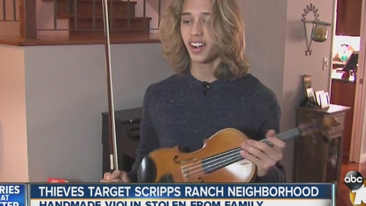 Unique handmade violin stolen in Scripps...