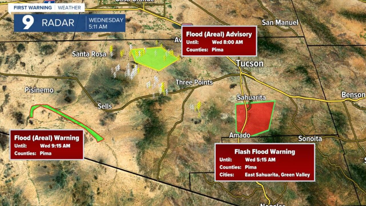 The National Weather Service issued a Flood Advisory for north central Pima County.