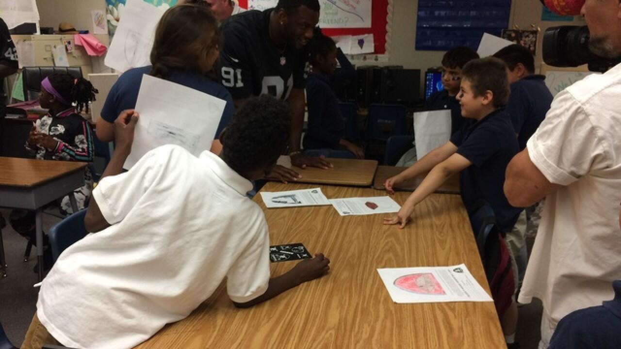 Raiders visit Gene Ward Elementary