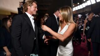Pitt and Aniston reunite at SAG Awards, both win trophies