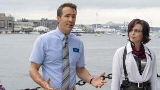 """Ryan Reynolds and Jodie Comer star in """"Free Guy."""" Photo courtesy 20th Century Studios."""