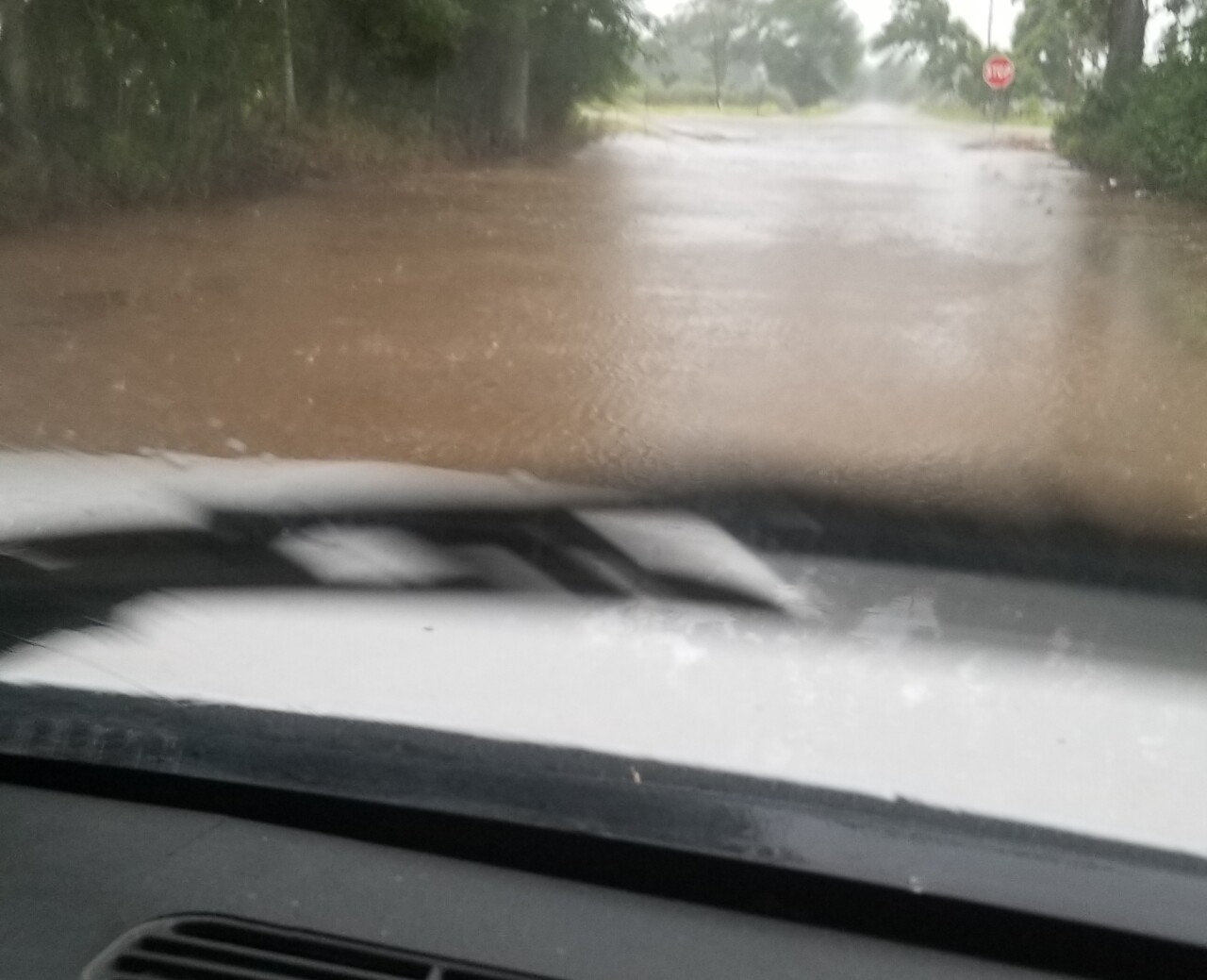 Flooding on South Guegnon and Trahan Street in Abbeville. Photo courtesy Amber Sellers.