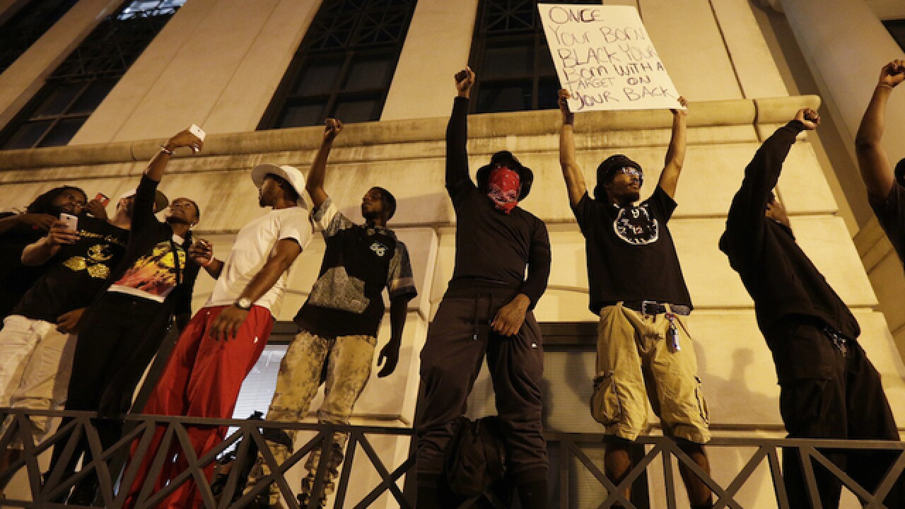 Black Lives Matter protests remained peaceful in Charlotte on Thursday