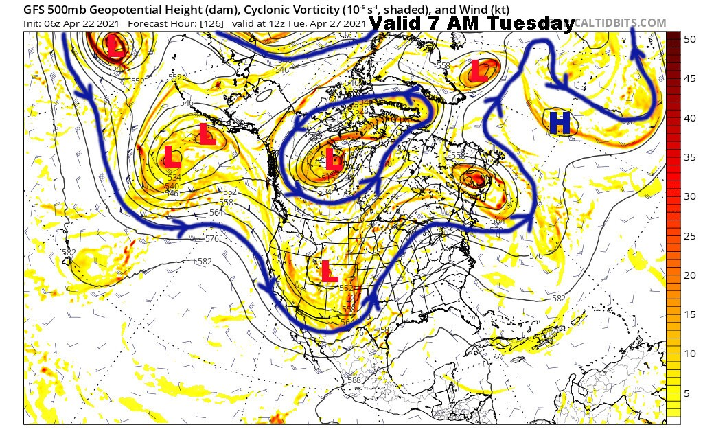 Upper Level Flow Valid Next Tuesday