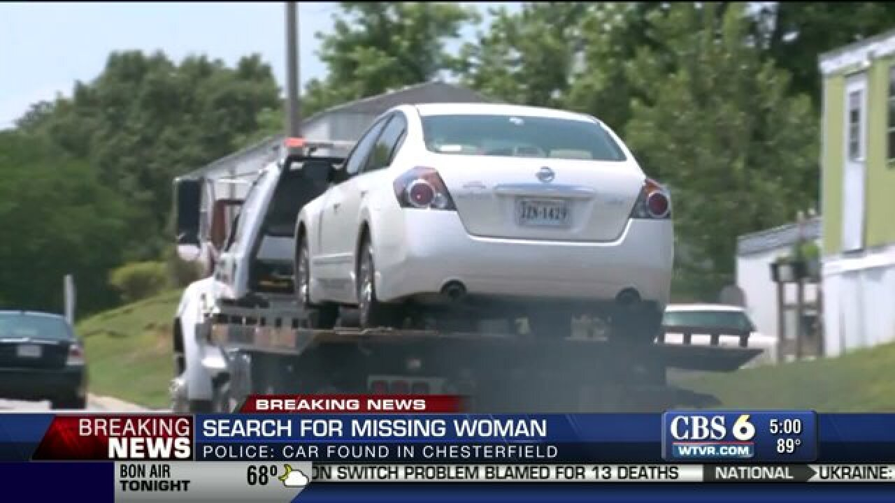 Missing mother's car discovered in Chesterfield