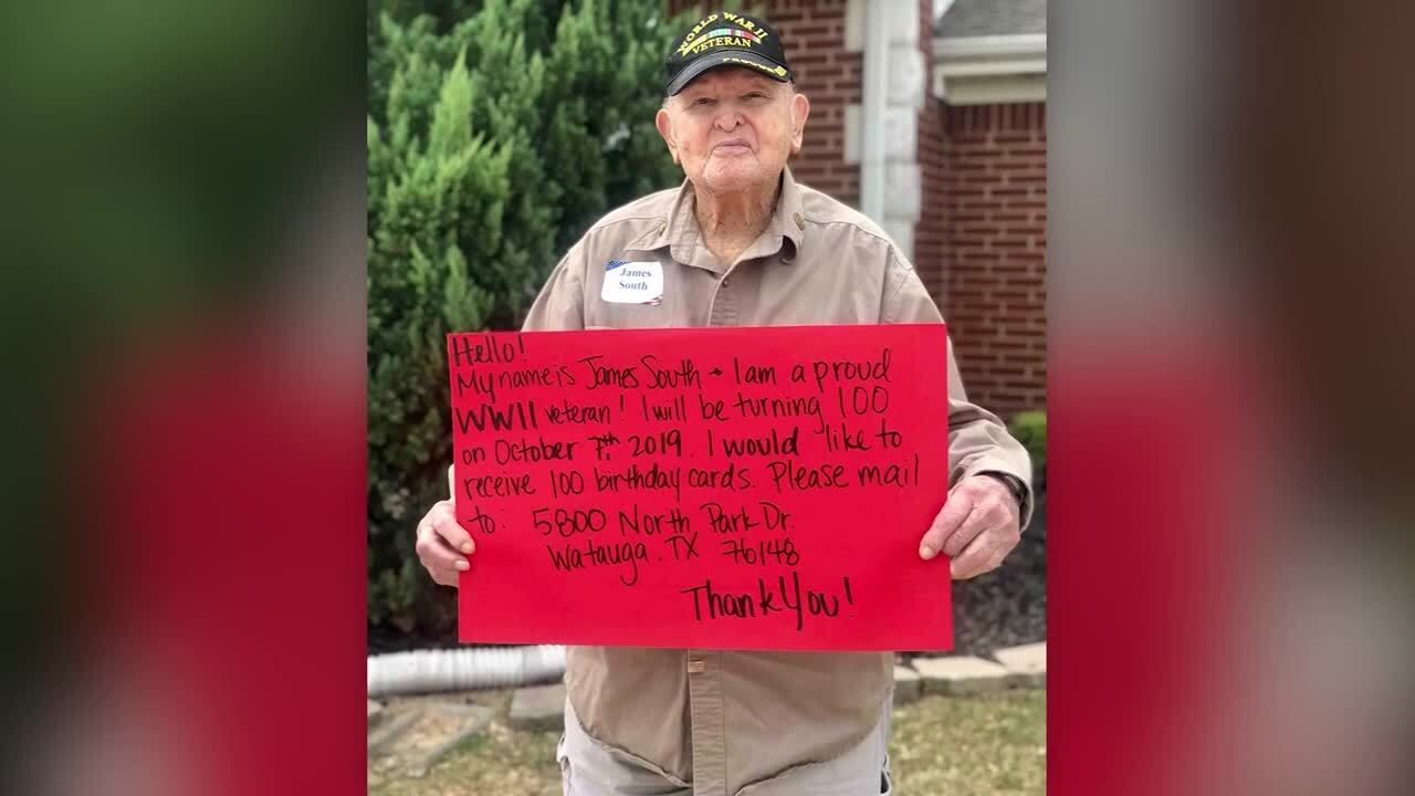 James South wants 100 birthday cards for his 100th birthday.