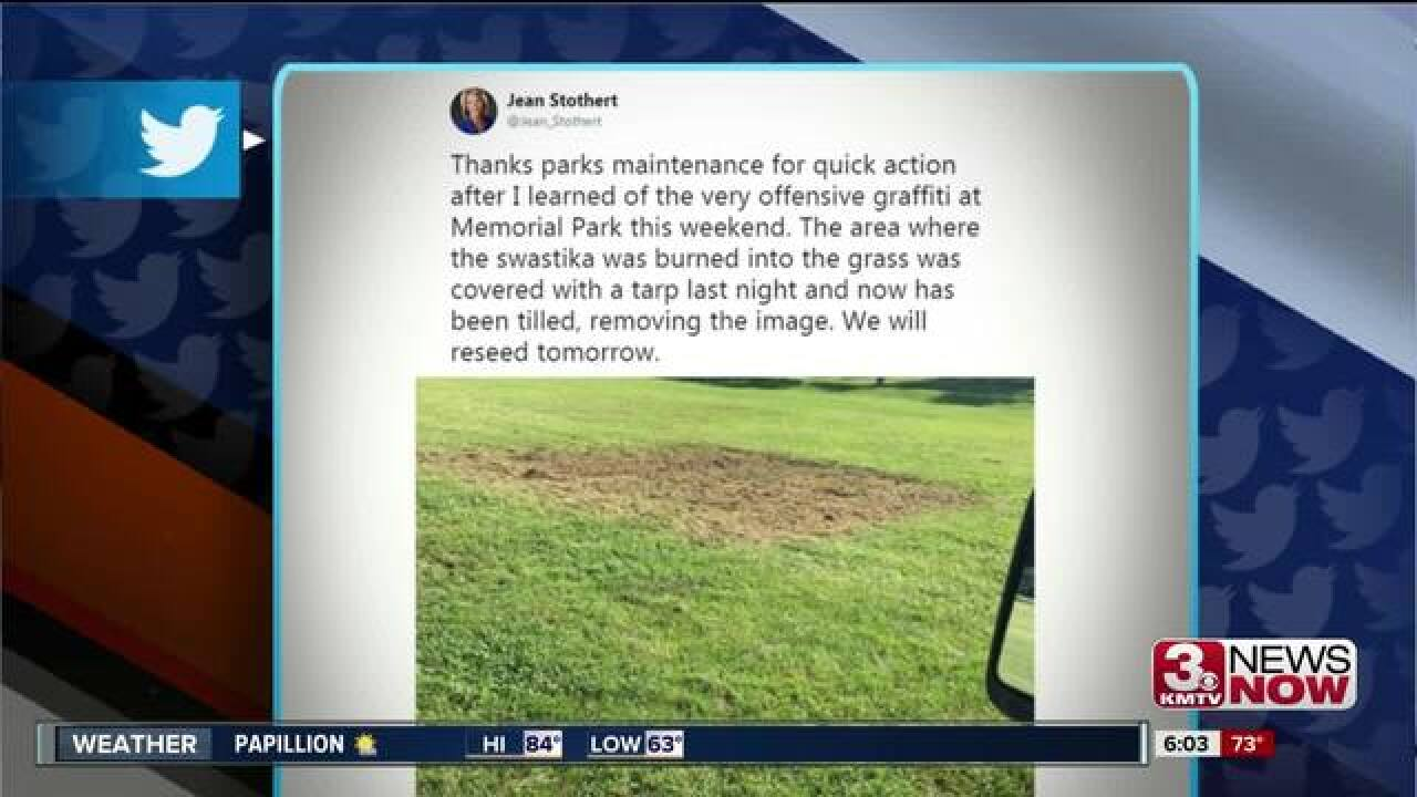 City of Omaha removes swastika from Memorial Park