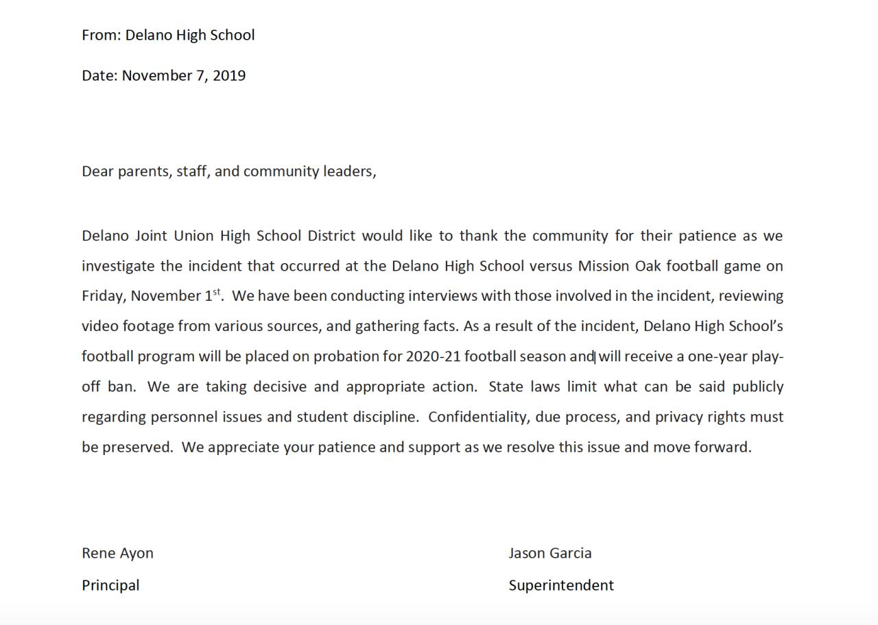 Delano High School statement on football probation